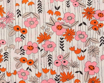 Perky flowers, pink and orange - Fat Quarter