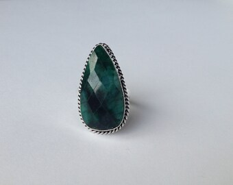 Faceted Cloudy Emerald Ring