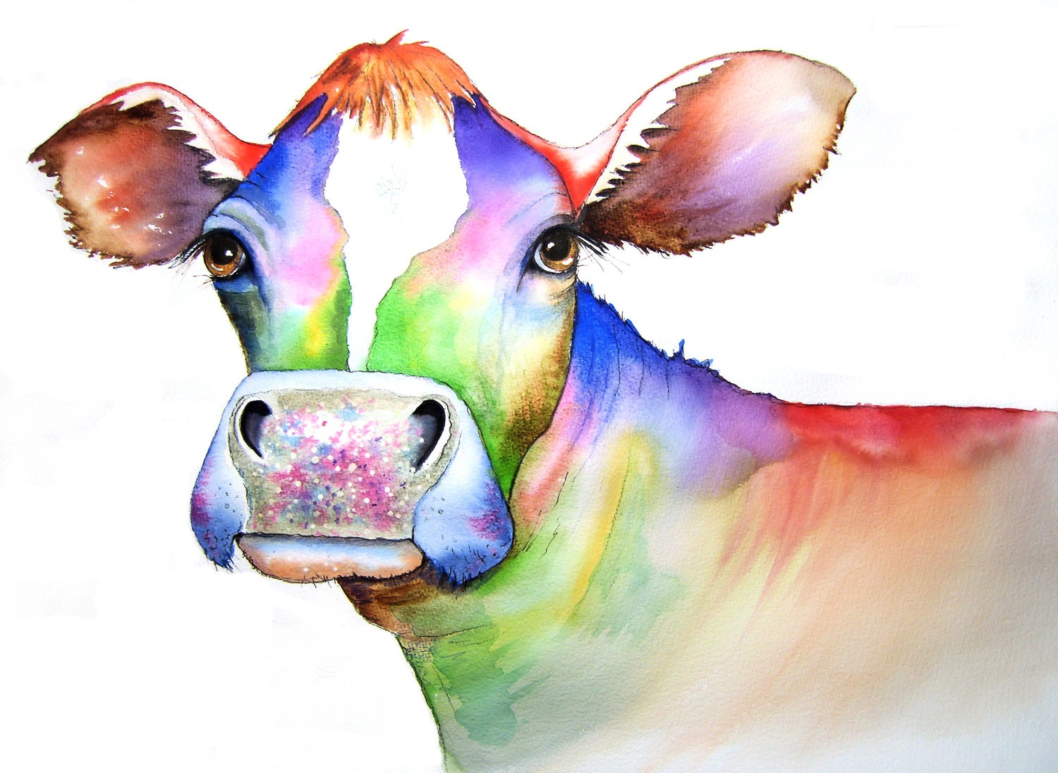 Cow art signed print from an original watercolour by vivaci for Cow painting print