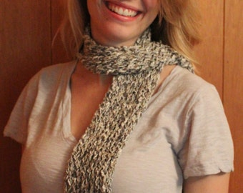 Gray and white woven cotton linen blend  scarf for those in between days