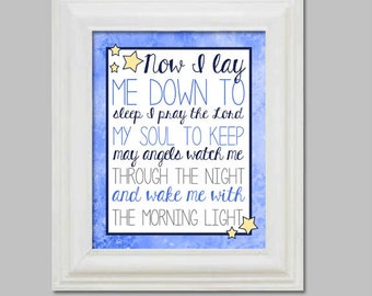 Now I Lay Me Down To Sleep - Bedtime Prayer - Christian Wall Print - Baptism or Baby Shower Gift - Baby Decor - Blue Yellow - Digital File