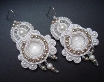 White unique handmade soutache/soutasz EARRINGS