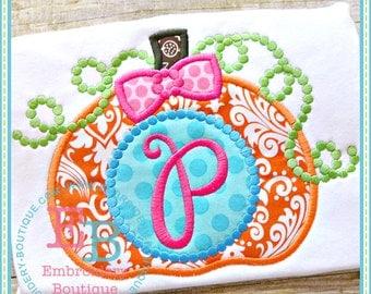 Personalized Monogram Halloween, Fall, Thanksgiving Pumpkin Shirt or Onesie for Girls