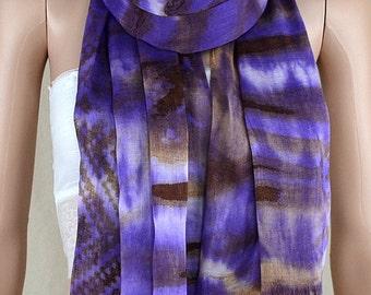 Silk cotton printed purple scarf, geometry tassel scarf, manual leisure tie-dye scarves, shawls