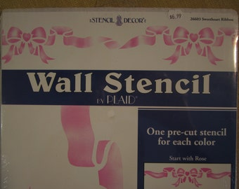 """Sweetheart Ribbon,pre cut wall stencil,actual size 4 3/4""""x14 3/4"""", 2 18"""" stencils and instructions,#26603"""