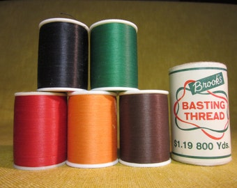 5 spools J&P Coats extra strong hand quilting thread,black,green,red,orange,brown 250 yards each, and 1 spool Brook's basting thread