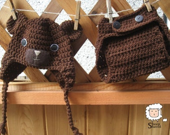 Crochet Diaper Cover and Toque set (Bear)