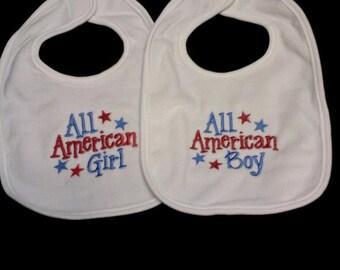 All AMERICAN Girl OR By Bib or burp cloth
