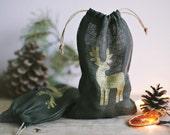 SALE 20% OFF / Linen Bag /  Linen Christmas Bag / Gift bag / Natural linen / Dark Moos Grey / Rustic / Deer Bag