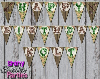 Printable HUNTING PARTY BANNER - Hunting Pendant Banner - Camo Party Banner - Hunting Happy Birthday Party Banner - Hunting Decoration