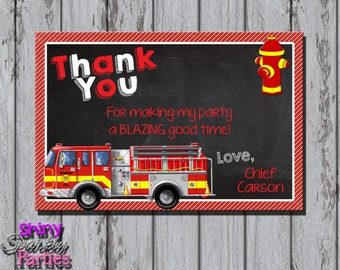 FIRETRUCK THANK You CARD - Firetruck Thank You Card - Firefighter Birthday - Fireman Party - Chalkboard - Thank You Note - Red and Yellow