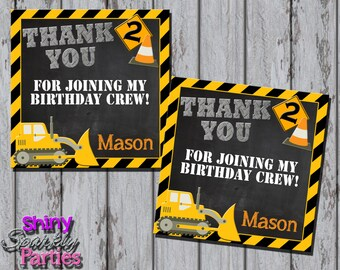 CONSTRUCTION FAVOR TAGS - Dump Truck Birthday Favor Tags - Construction Birthday Favor Tags - Birthday Under Construction Tags