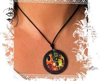 Fruit Juice slate necklace - Klimt influence
