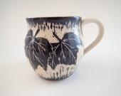 Coffee Mug, Wheel-thrown , Grape Leaves -  approx 12 oz (think Starbucks Tall size)