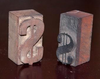 Vintage Letterpress Letters Wood Type Printer Blocks Dollar Symbols