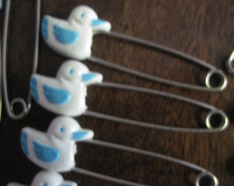 Vintage 24 Blue and White Ducky Diaper Pins Strong and Sturdy 1960's New Condition