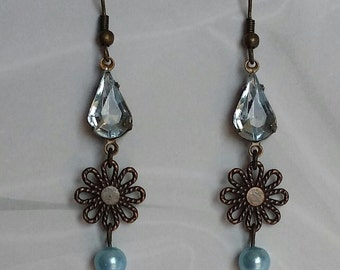 Blue glass and antique dangle earrings