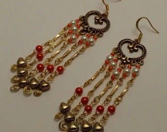 Orange, White, Antique Gold Heart Beaded Chandelier Earrings