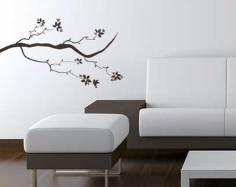 Asian Style Branch Vinyl Wall Graphic Decal with Bird. Vinyl Wall Sticker. ~ Item 0100
