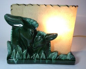 Green Deer and Fawn Ceramic Vintage Bedside Lamp