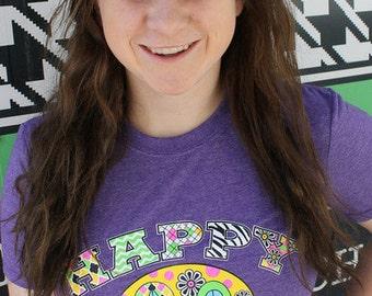"Heather Purple ""Happy Camper"" T-Shirt"