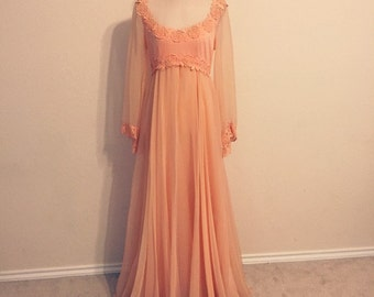 1960's Lillie Rubin Peach Evening Gown