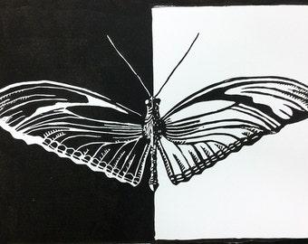 """original linocut """"Butterfly"""""""