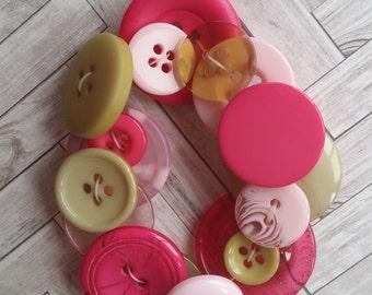 Button Bracelet - pink & green