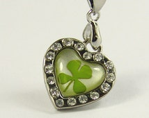 Real Four Leaf Clover Necklace Lucky Necklace Heart Necklace Jewelry (with jewelry box)