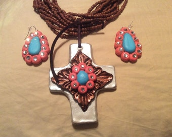 """20"""" polymer clay cross necklace and earring set"""