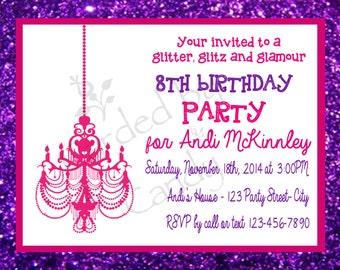 Glitter, Glitz and Glamour Birthday Party Invitation 5x7