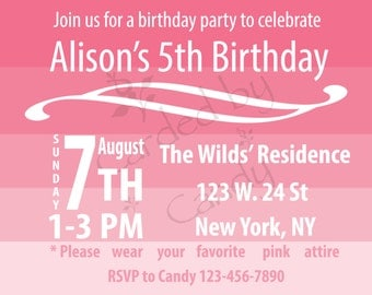 Pretty in Pink Birthday Party Invitation