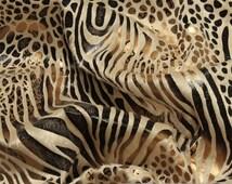 Fabric polyester single jersey beige animal print snake zebra flashy gold silver pattern mixture