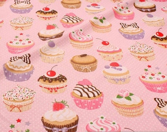 Fabric pure cotton pink muffins little dots muffin fairy cake cupcake