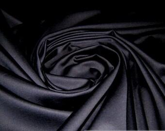 Fabric cotton Lycra satin dark blue marine stainless deep dark blue