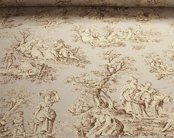 Fabric pure cotton rib ivory Toile de Jouy rural brown 280 cm wide