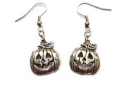 Handmade Halloween Pumpkin Dangle Earrings Hook Drop Base Metal Antique Silver Colour