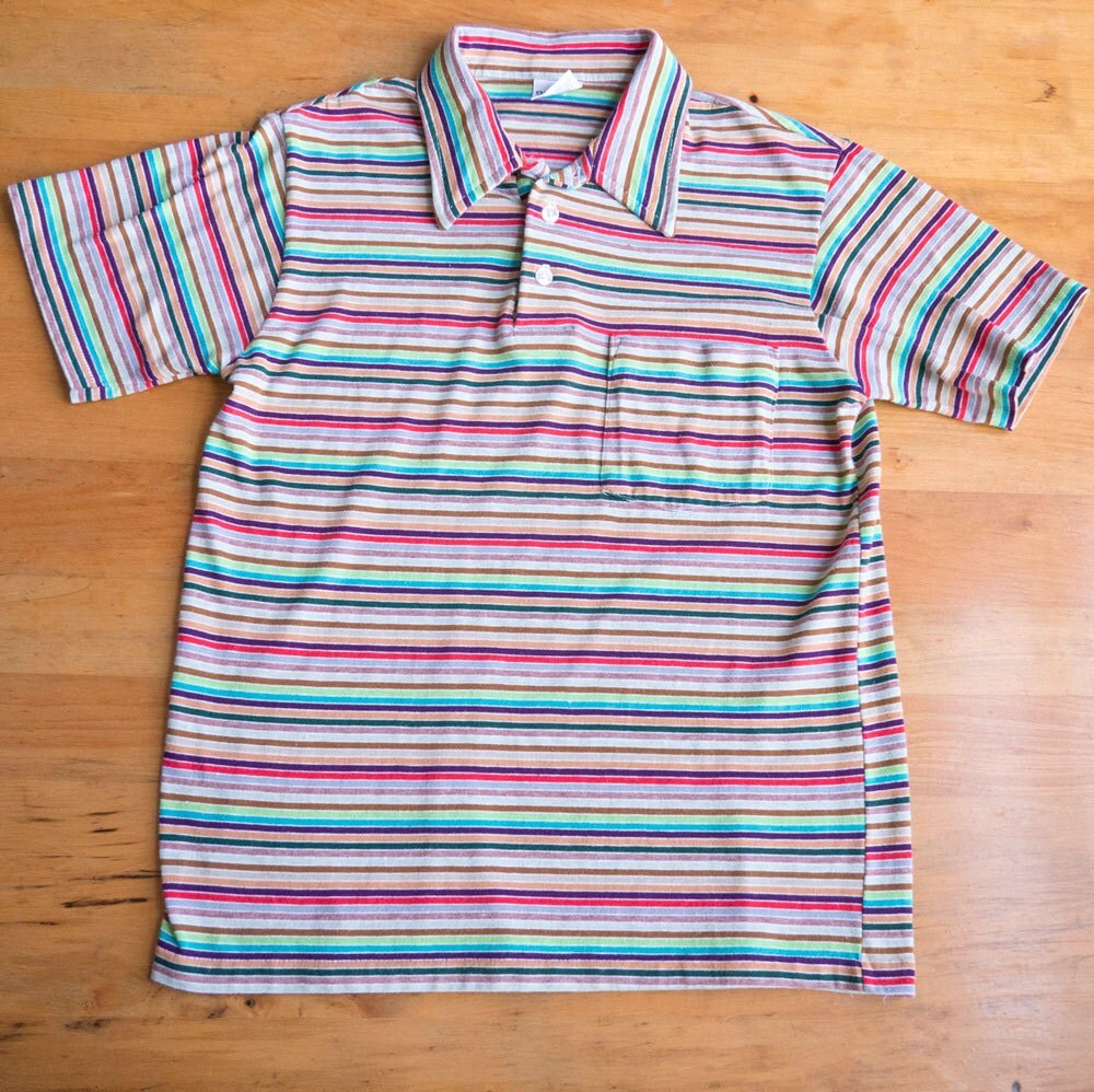 1960s vintage multi colored striped polo shirt sz m