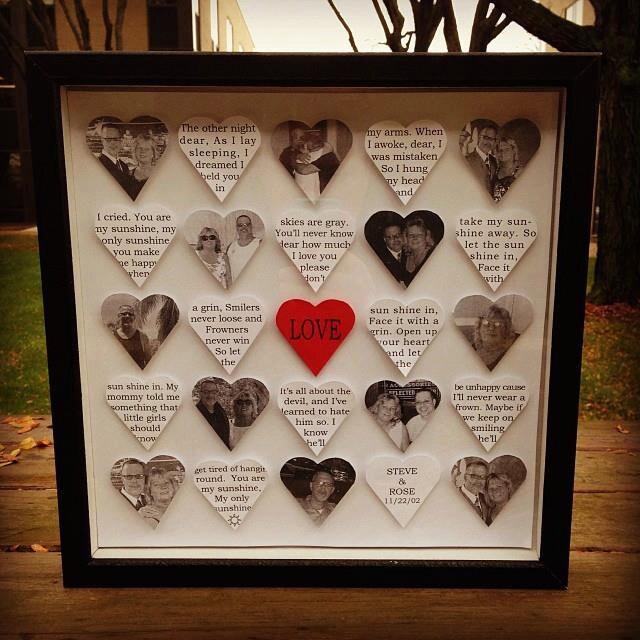 Love heart frame black shadow box wedding