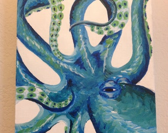 "Blue ""Curly Octopus"" Painting"