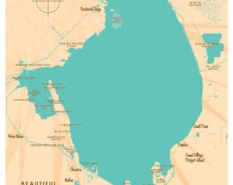Lake Okeechobee, FL Map Print