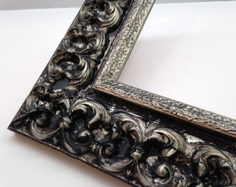 silver black ornate picture frame 3x5 4x6 5x7 8x10 11x14 16x20 18x24 custom sized frames heavy textured ornate picture frame