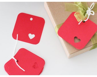 Red heart labels