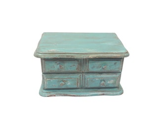 Turquoise Distressed Wooden Jewelry Box