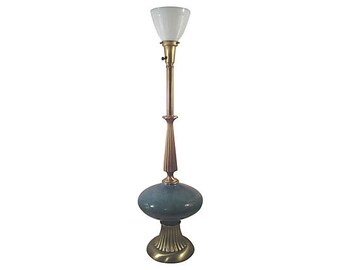 Hollywood Regency Turquoise  Ceramic and Brass Lamp