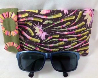 ROOMY and DEEP Sunglasses Case, Tula Pink WIDE Eyeglasses Case, Fabric Glasses Case, Magnetic Snap for Security