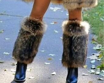 Real raccoon fur legwarmers / gaiters
