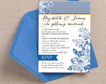 Navy Blue and White French Toile Wedding Invitations & RSVP with envelopes
