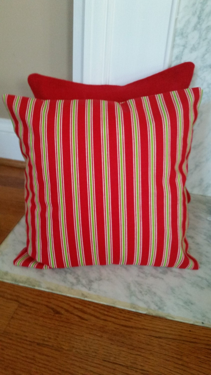 Pillow Cover with Velcro Closure Red with Chartreuse and