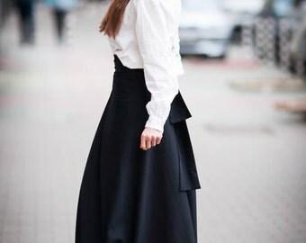 skirt/black skirt/long skirt/skirt with high waist
